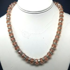 PINK GLASS BEADS AND METAL W/RHINESTONES NECKLACE